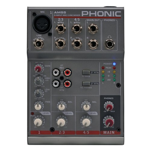 Phonic AM 55 AM 55. Channel fader (1kHz): 90 dB, Range di frequenza: 20 - 20000 Hz