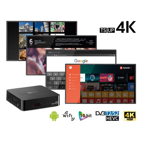 TELESYSTEM TS UP 4K Smart Box Android™ + tuner DVB-T2/S2 Ultra HD - Il vero decoder Smart TV