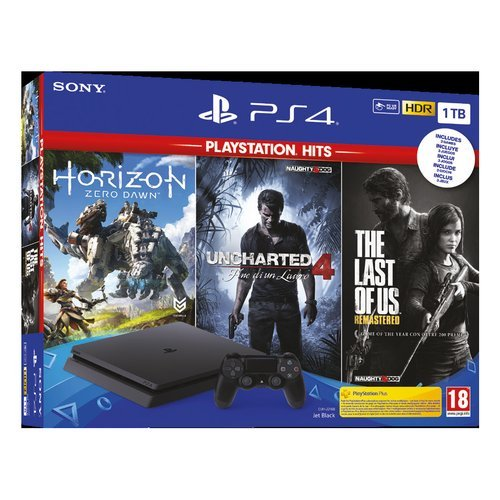 Sony Entertainment Cons. 9932505 Ps4 SLIM Bk 1TB F+3 Hits19 PlayStation 4 1TB + Horizon Zero Dawn + The Last of Us + Uncharted 4: Fine di un Ladro - PlayStation Hits