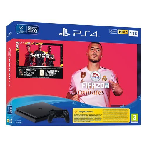 Sony Entertainment Cons. 9974901 Ps4 SLIM Bk 1TB F +Fifa20 Sony Entertainment PS4 1TB Hard DIsk + N. 1 DualShock 4 Wireless Controller + Copia fisica di FIFA 20